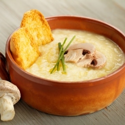 Potato soup with truffle oil