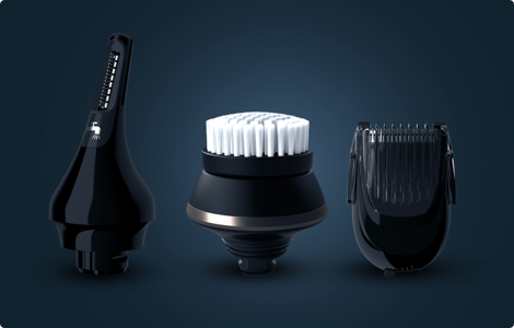 A beard styler, a precision trimmer or a cleansing brush