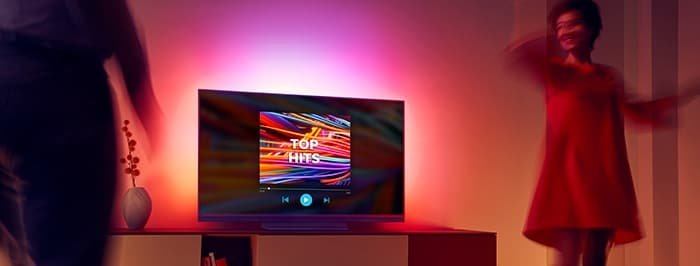 Whatever your musical taste, Ambilight can follow the sound and weave lightshows from the rhythm.| TV music mode