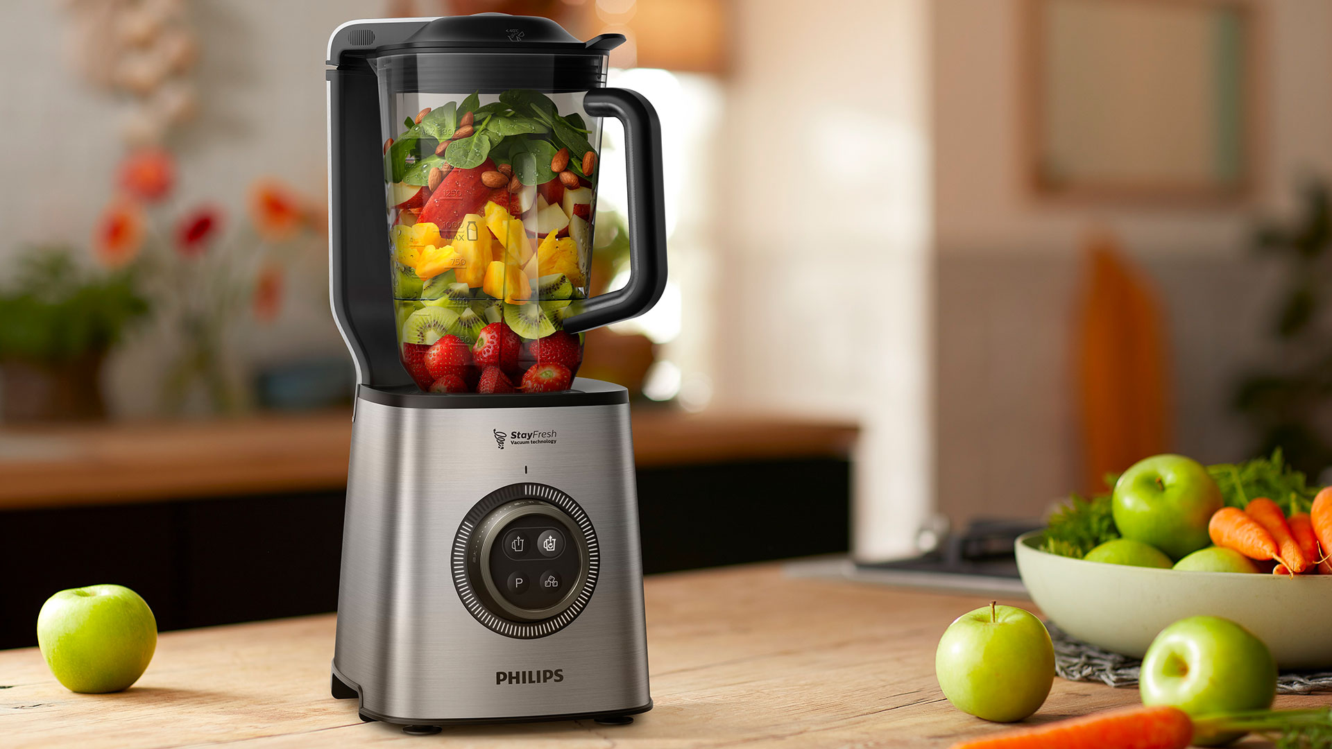 With a vacuum blending chamber and powerful StayFresh technology, the Philips High Speed Vacuum Blender keeps smoothies fresh throughout the day